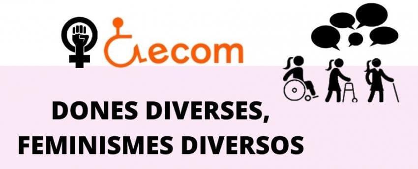 Imatge promocional de l'espai de trobada de Dones d'ECOM, on es visualitzen icones de dones amb diferents tipus de discapacitat física conversant