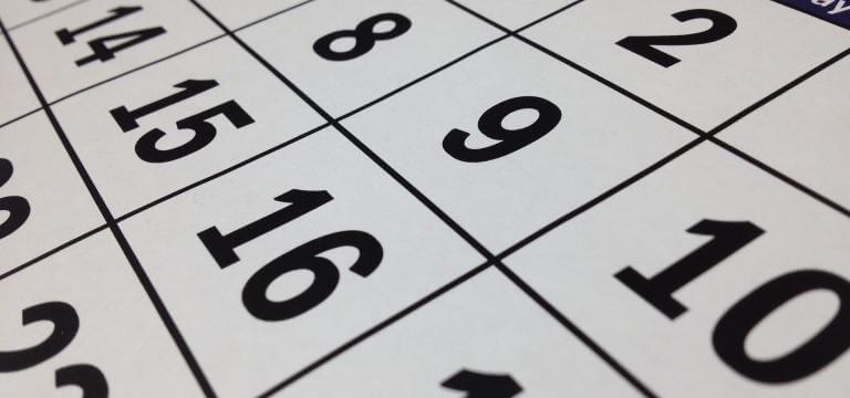 Primer pla de la pàgina d'un calendari