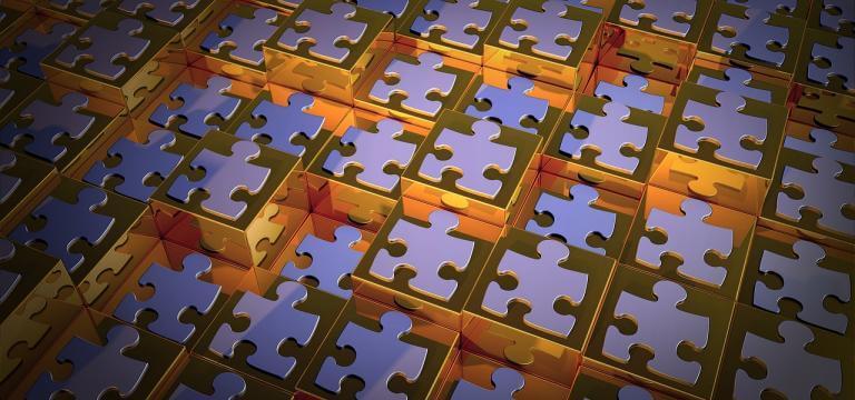 Un conjunto de piezas de puzzle, una al lado de la otra