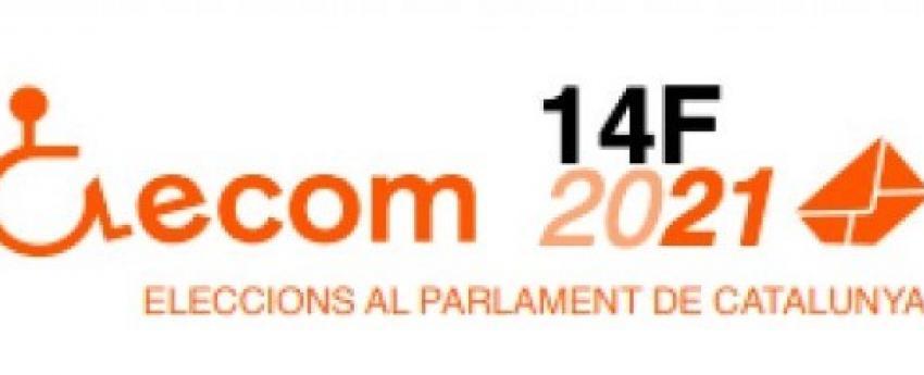 Logotip d'ECOM acompanyat d'un rètol on diu 14F 2021 Eleccions al Parlament de Catalunya