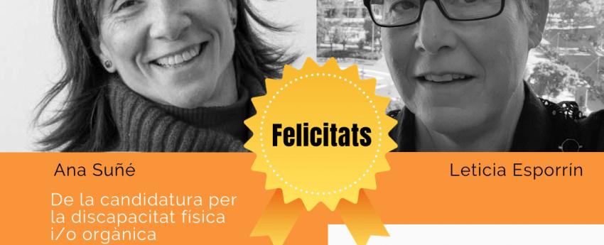 Ana Suñe i Leticia Esporrín (escollides a les eleccions de l'IMPD) amb una medalla on diu felicitats