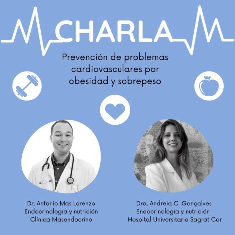 cartel xerrada: Prevenció de problemes cardiovasculars per obesitat i sobrepes, amb les fotos dels ponents