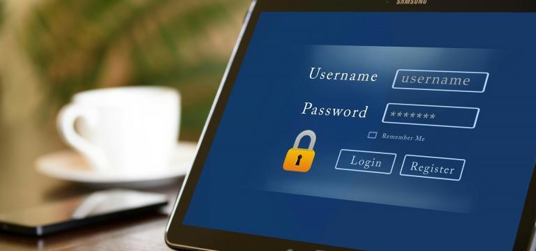Imatge d'una pantalla d'una tablet amb una pàgina d'internet oberta on et permet fer el resgistre o incloure les claus d'accés