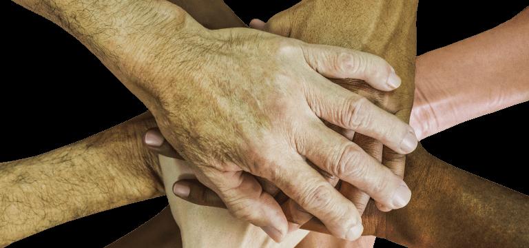 Un grup de mans de diverses persones, una sobre l'altra