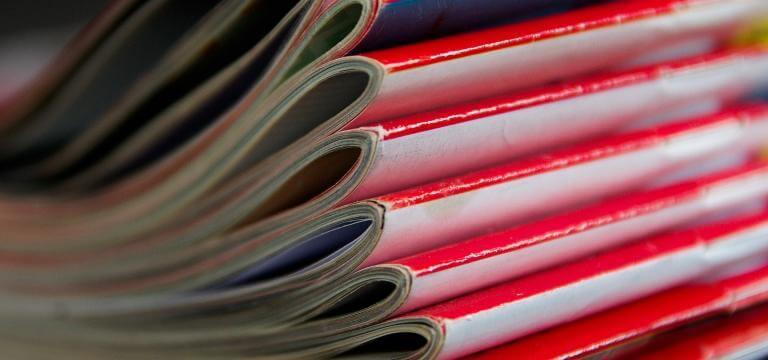 Imatge del llom de diverses publicacions apilades