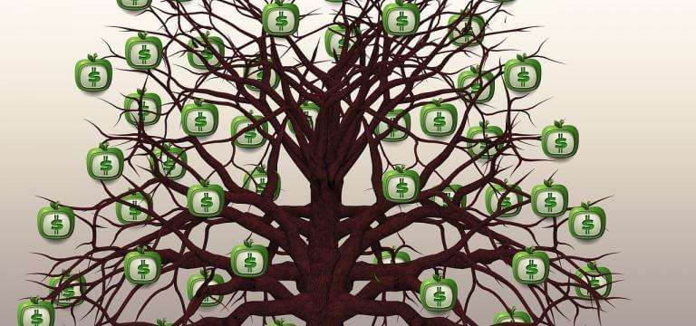 Imatge d'un arbre amb moltes branques d'on pengen unes pomes amb el símbol del dòlar