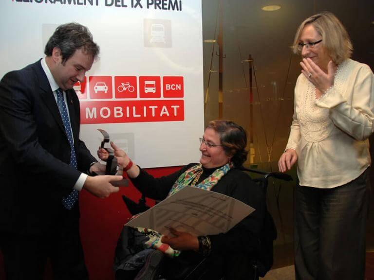 Entrega del premio Pacto por la Mobilidad por parte del alcalde de Barcelona Jordi Hereu